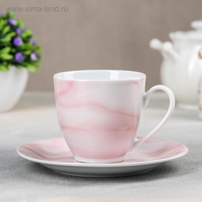 """Tea pair """"Marble"""" Cup 200 ml, saucer 14.5 cm, color pink"""