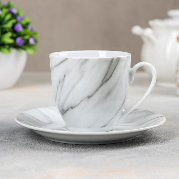 """Tea pair """"Marble"""" Cup 200 ml, saucer 14.5 cm, color gray"""