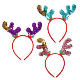 Карнавальный ободок «Рожки», с паетками, цвета МИКС