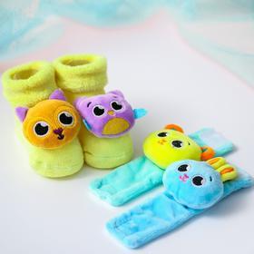 Подарочный развивающий набор: браслетики + носочки погремушки «Зверята»
