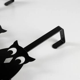 Вешалка надверная на 3 крючка «Совы», 25×32×6,2 см, цвет чёрный - фото 4641622