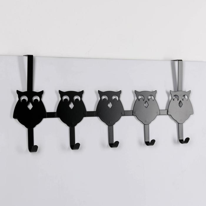 Вешалка надверная на 5 крючков «Совы», 25×54×8,2 см, цвет чёрный - фото 4641611