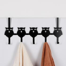 Вешалка надверная на 5 крючков «Совы», 25×54×8,2 см, цвет чёрный - фото 4641612