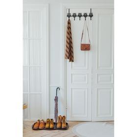 Вешалка надверная на 5 крючков «Совы», 25×54×8,2 см, цвет чёрный - фото 7402450