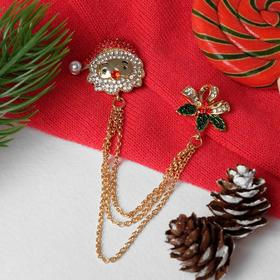 """Christmas brooch """"Santa Claus"""" with Holly, MIX color"""