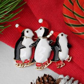 """New year's brooch """"Penguins"""", colored in gold"""