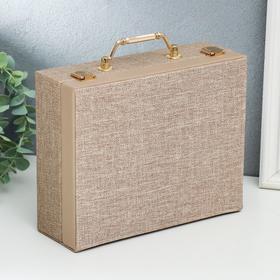 """Шкатулка кожзам для украшений """"Мокко"""" комбинированная чемодан 8х18х23 см"""