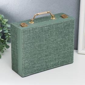 """Шкатулка кожзам для украшений """"Зелёная"""" комбинированная чемодан 8х18х23 см"""