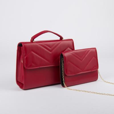 Milla women's bag set, 27*9*30, otd on the flap, length of belt, chain, red