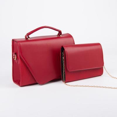 Women's Grimm bag set, 27*9*20, zippered otd, belt length,chain, Burgundy