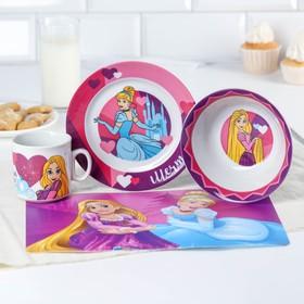 Набор посуды «Мечтай!», 4 предмета: кружка 200 мл, миска d=14 см, тарелка d=16,5 см, коврик в подарочной упаковке Принцессы Дисней