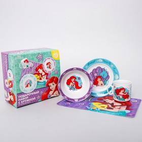 Набор посуды «Ариэль», 4 предмета: тарелка Ø 16,5 см, миска Ø 14 см, кружка 200 мл, коврик в подарочной упаковке, Принцессы Дисней