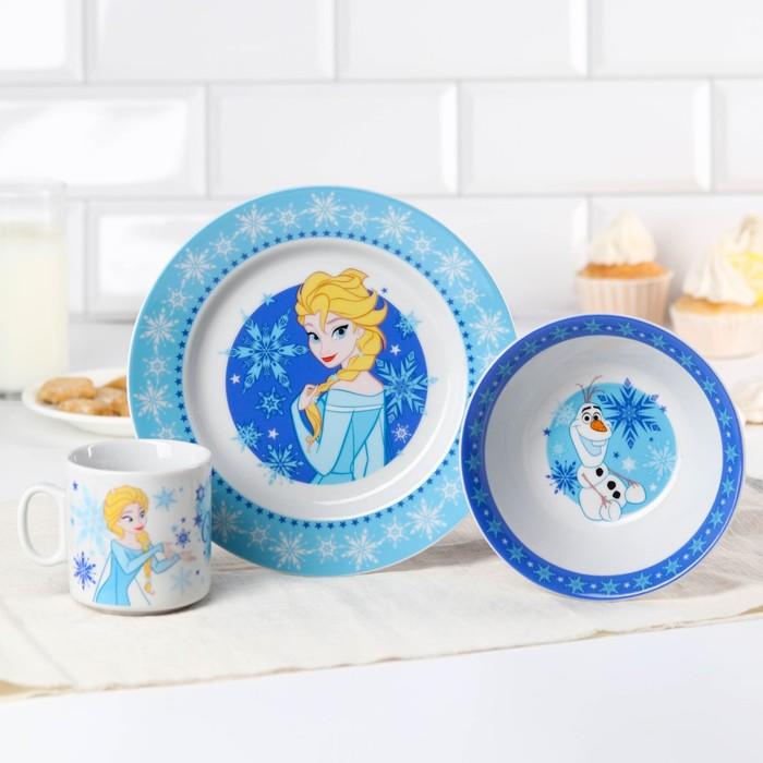 Набор посуды «Winter Magic», 4 предмета: тарелка Ø 16,5 см, миска Ø 14 см, кружка 200 мл, коврик в подарочной упаковке, Холодное сердце