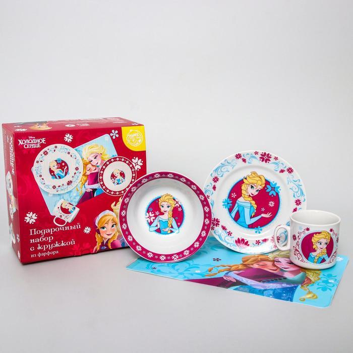 Набор посуды «Эльза», 4 предмета: тарелка Ø 16,5 см, миска Ø 14 см, кружка 200 мл, коврик в подарочной упаковке, Холодное сердце - фото 496900