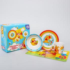 Набор посуды 4 предмета: тарелка Ø 16,5 см, миска Ø 14 см, кружка 200 мл, коврик в подарочной упаковке, Медвежонок Винни и его друзья