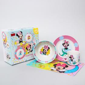 Набор посуды «Минни русалочка», 4 предмета: тарелка Ø 16,5 см, миска Ø 14 см, кружка 200 мл, коврик в подарочной упаковке, Минни Маус