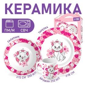 Набор посуды «Мари», 4 предмета: тарелка Ø 16,5 см, миска Ø 14 см, кружка 200 мл, коврик в подарочной упаковке, Коты Аристократы