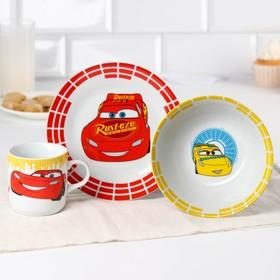 Набор посуды «Lighthing McQueen», 4 предмета: тарелка Ø 16,5 см, миска Ø 14 см, кружка 200 мл, коврик в подарочной упаковке, Тачки