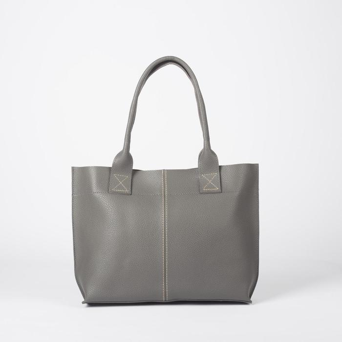 Сумка женская, отдел на молнии, наружный карман, цвет серый - фото 54223