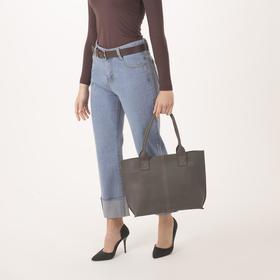 Сумка женская, отдел на молнии, наружный карман, цвет серый - фото 54226