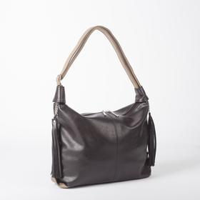Сумка женская, отдел на молнии, наружный карман, цвет коричневый/кофе
