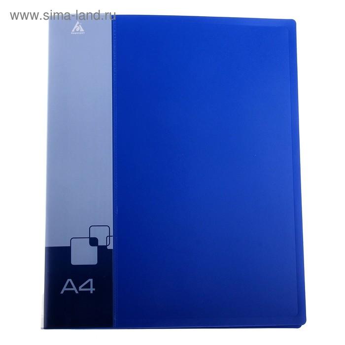 Папка на 2 кольцах А4 пластиковая, 18мм, 700мкм, внутренний торцевой карман с бумажной вставкой, синяя