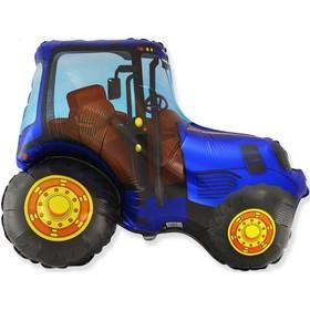 """Шар фольгированный 30"""" «Трактор синий», фигура"""