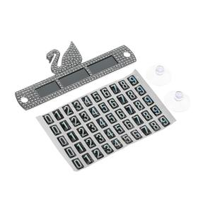 Car phone number plate with silver rhinestones