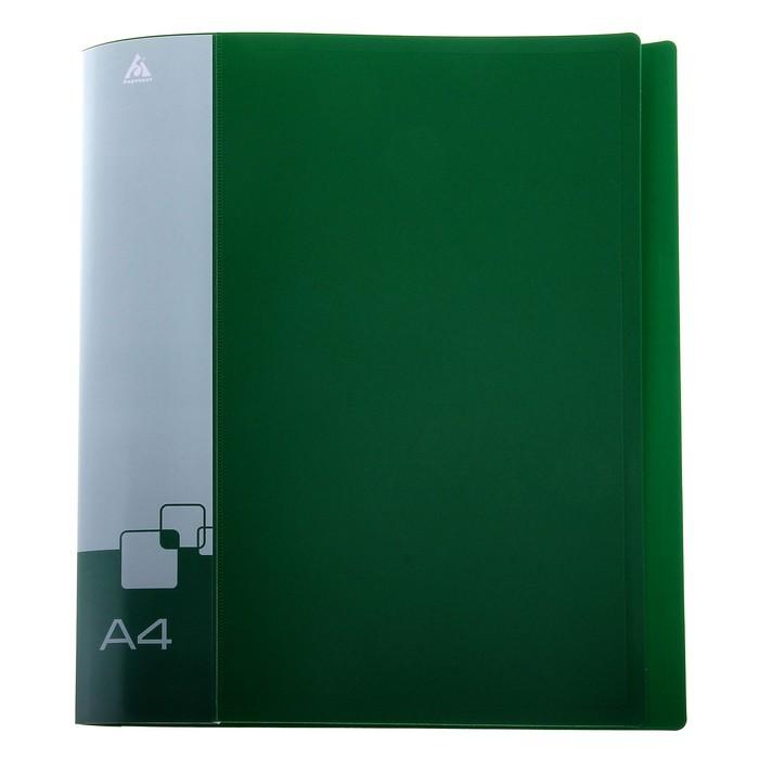 Папка на 2 кольцах А4 пластиковая, 18мм, 700мкм, внутренний торцевой карман с бумажной вставкой, зеленая