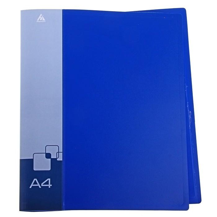 Папка на 2 кольцах А4 пластиковая, 27мм, 700мкм, внутренний торцевой карман с бумажной вставкой, синяя