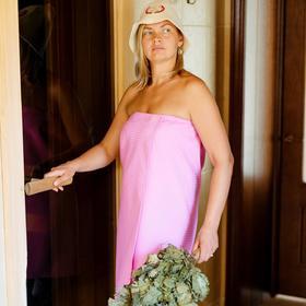 Парео для бани, размер 80×145 см, розовый