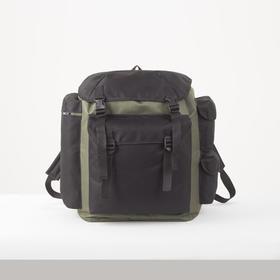 Рюкзак туристический, 40 л, отдел на шнурке, 3 наружных кармана, цвет чёрный/хаки