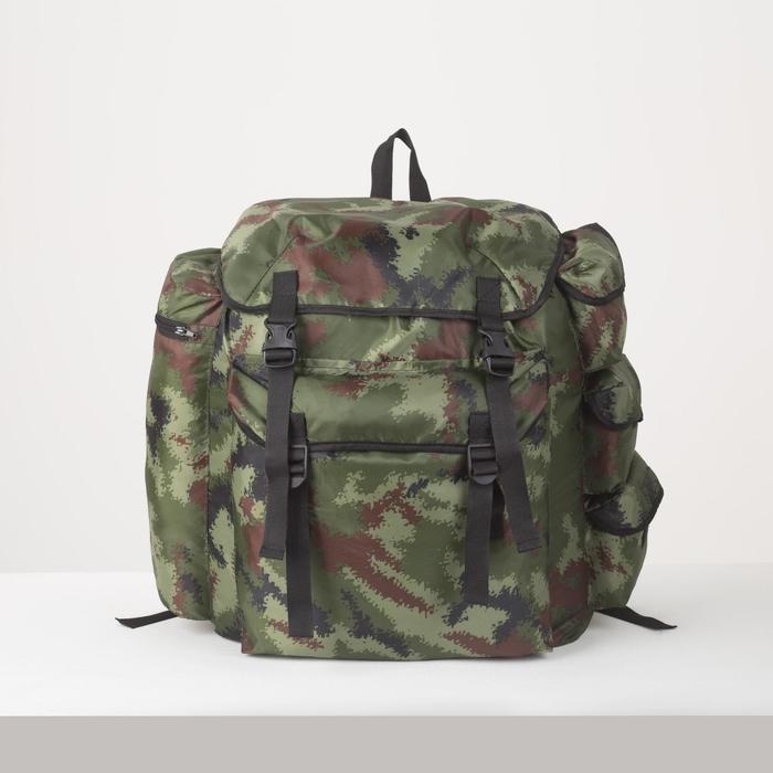 Рюкзак туристический, 55 л, отдел на шнурке, 3 наружных кармана, цвет камуфляж - фото 1771644