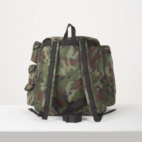 Рюкзак туристический, 55 л, отдел на шнурке, 3 наружных кармана, цвет камуфляж - фото 1771645