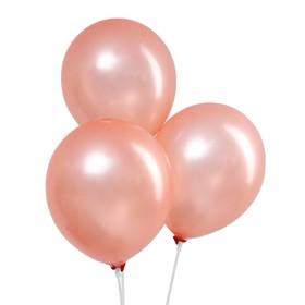 """Шар латексный 12"""", металл, набор 100 шт., цвет розовое золото"""