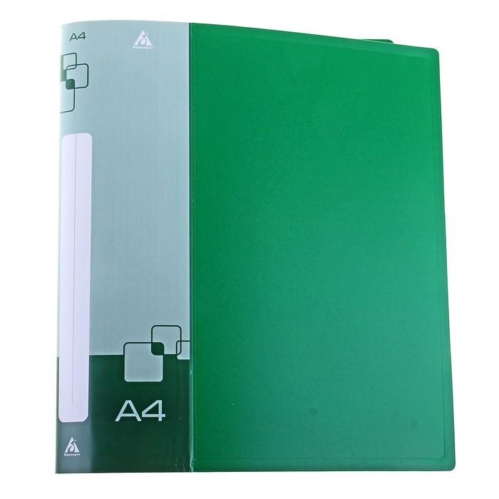 Папка на 4 кольцах А4 пластиковая, 27мм, 700мкм, внутренний торцевой карман с бумажной вставкой, зеленая