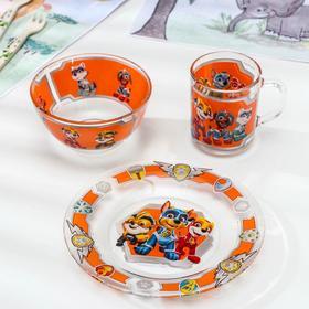 Набор посуды детский «Щенячий патруль: Мегащенки», 3 шт: тарелка d=20 см, салатник d=13 см, кружка 200 мл