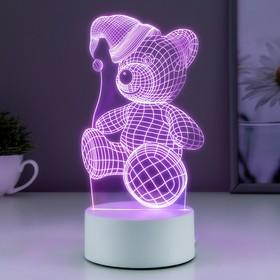 """Светильник """"Мишка в шапке"""" LED RGB от сети"""