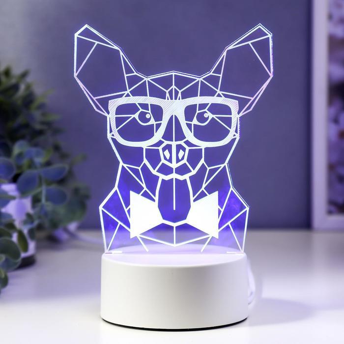 "Светильник ""Собака в очках"" LED RGB от сети 9,5х13х19 см"