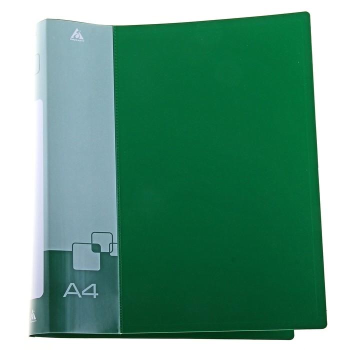 Папка на 4 кольцах А4 пластиковая, 40мм, 800мкм, внутренний торцевой карман с бумажной вставкой, зеленая