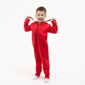 Комбинезон детский, цвет красный, рост 104 см