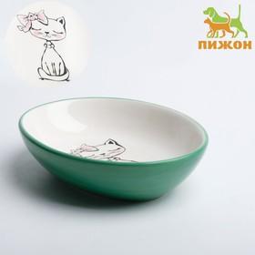 "Ceramic saucer ""Sweet kitty"", 15.7 x 11.3 x 3.8 cm, blue"