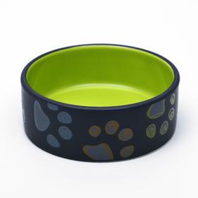 "Ceramic bowl ""Paws"", 13.2 x 5.4 cm, green"