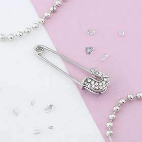 """Pin """"Classic"""" 5 cm, color white silver"""