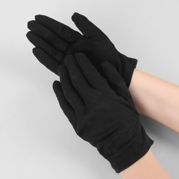 Перчатки хлопковые, размер M, пара, цвет чёрный