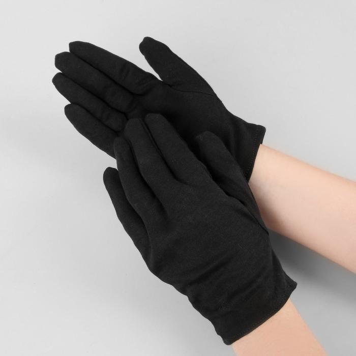 Перчатки хлопковые, размер L, пара, цвет чёрный