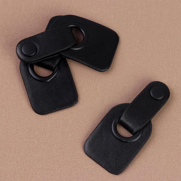 Застёжка-клевант, с кнопкой, 9 × 4 см, 3 шт, цвет чёрный