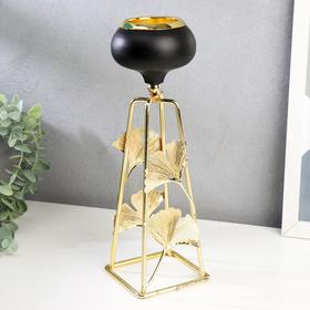 """Подсвечник металл на 1 свечу """"Листья в форме вееров"""" 27,5х8,5х8,5 см"""