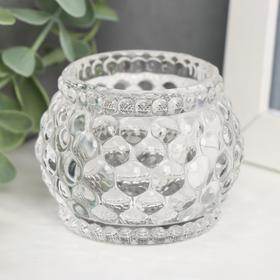 "Подсвечник стекло на 1 свечу ""Пузырьки на шаре"" прозрачный 5х6х6 см"