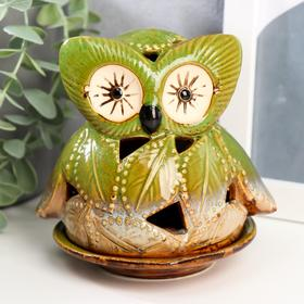 "Ceramic candle holder ""owl of leaves"" 11x11,5x9,5 cm"